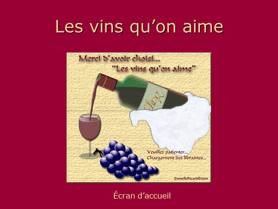 Les vins qu'on aime Écran d'accueil