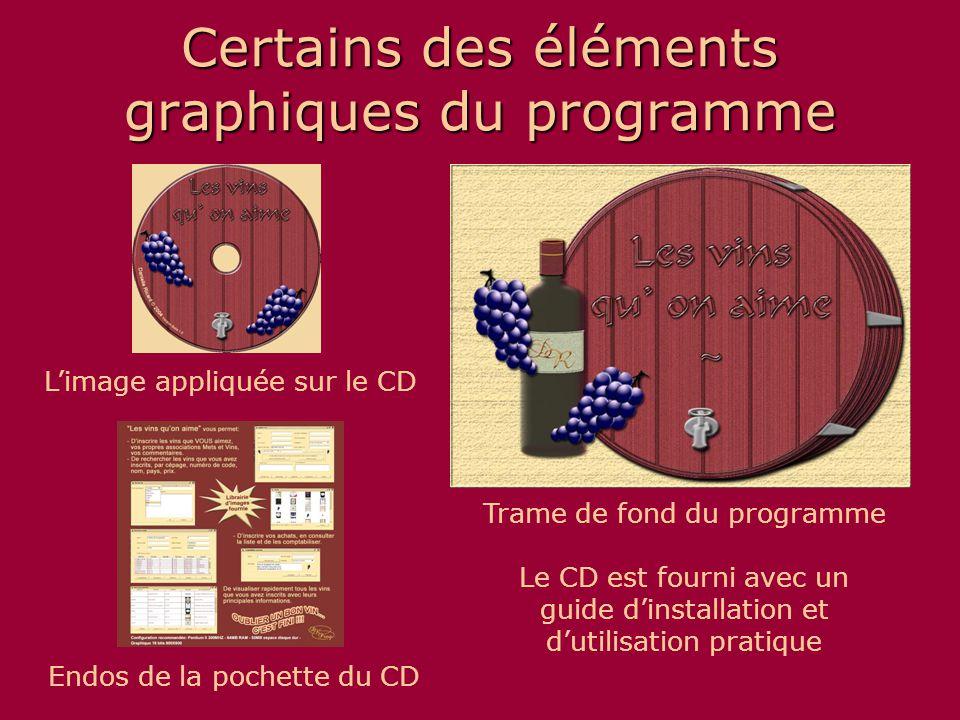 Certains des éléments graphiques du programme Trame de fond du programme L'image appliquée sur le CD Le CD est fourni avec un guide d'installation et