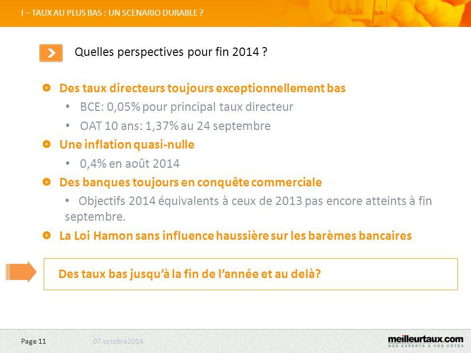 07 octobre2014 Page 11 Des taux directeurs toujours exceptionnellement bas BCE: 0,05% pour principal taux directeur OAT 10 ans: 1,37% au 24 septembre Une inflation quasi-nulle 0,4% en août 2014 Des banques toujours en conquête commerciale Objectifs 2014 équivalents à ceux de 2013 pas encore atteints à fin septembre.