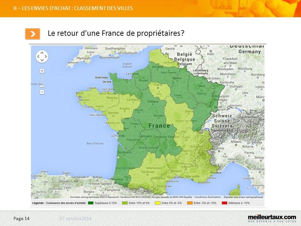 07 octobre2014 Page 14 II – LES ENVIES D'ACHAT : CLASSEMENT DES VILLES Le retour d'une France de propriétaires