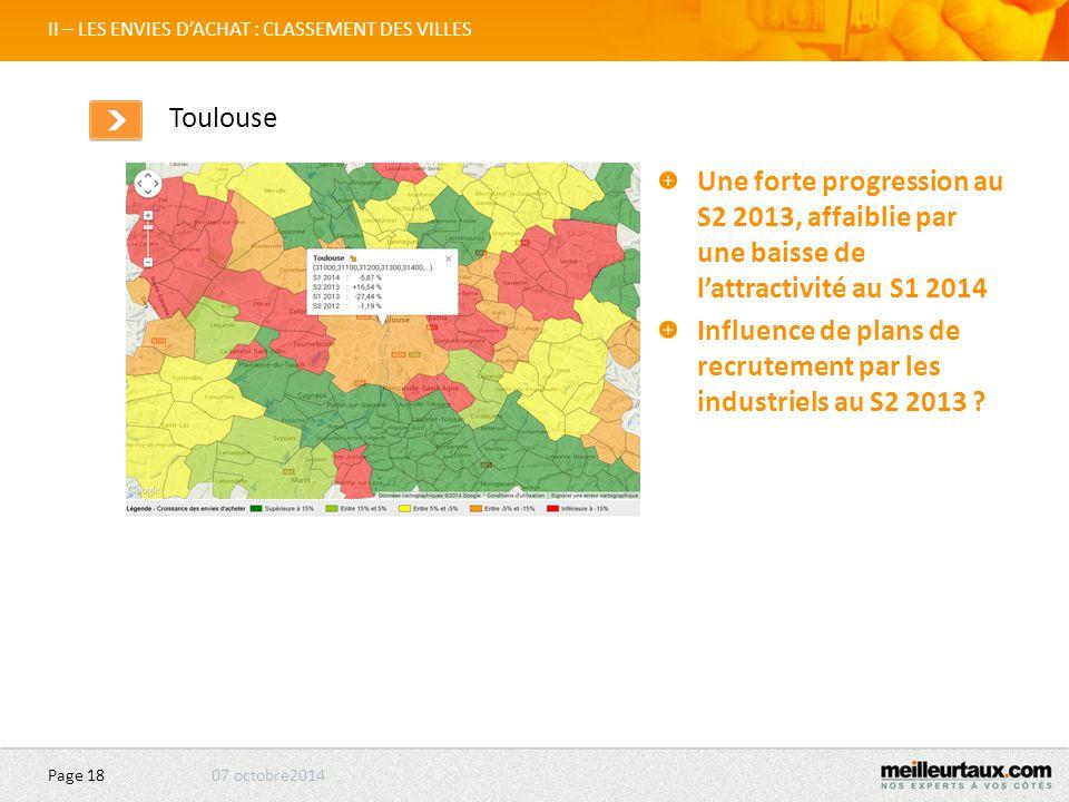 07 octobre2014 Page 18 II – LES ENVIES D'ACHAT : CLASSEMENT DES VILLES Toulouse Une forte progression au S2 2013, affaiblie par une baisse de l'attractivité au S1 2014 Influence de plans de recrutement par les industriels au S2 2013