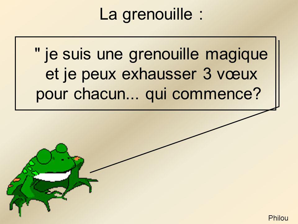 La grenouille : je suis une grenouille magique et je peux exhausser 3 vœux pour chacun...