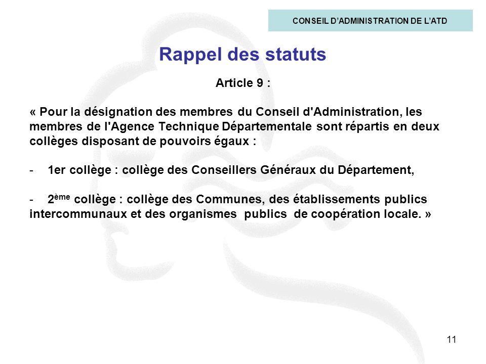 11 Rappel des statuts Article 9 : « Pour la désignation des membres du Conseil d'Administration, les membres de l'Agence Technique Départementale sont