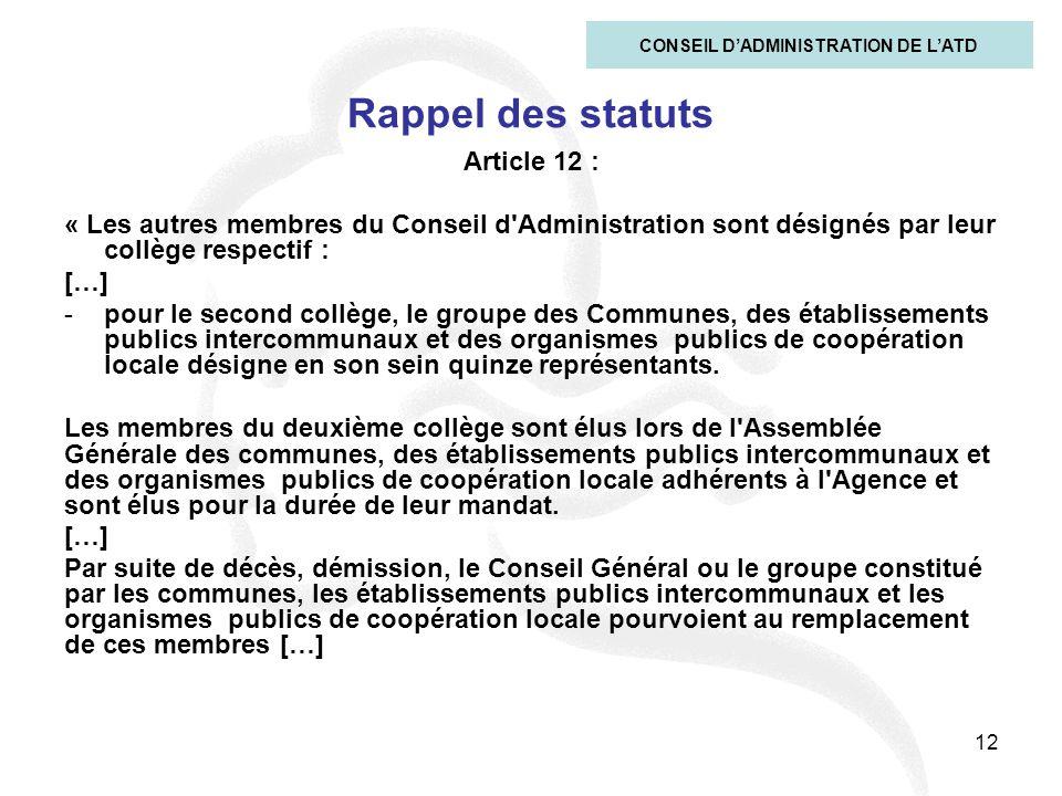 12 Rappel des statuts Article 12 : « Les autres membres du Conseil d'Administration sont désignés par leur collège respectif : […] -pour le second col