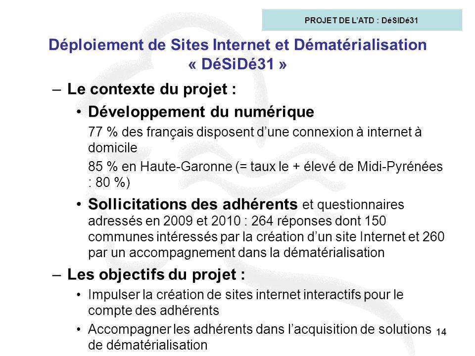 14 Déploiement de Sites Internet et Dématérialisation « DéSiDé31 » –Le contexte du projet : Développement du numérique 77 % des français disposent d'u