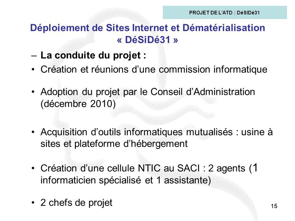 15 Déploiement de Sites Internet et Dématérialisation « DéSiDé31 » –La conduite du projet : Création et réunions d'une commission informatique Adoptio