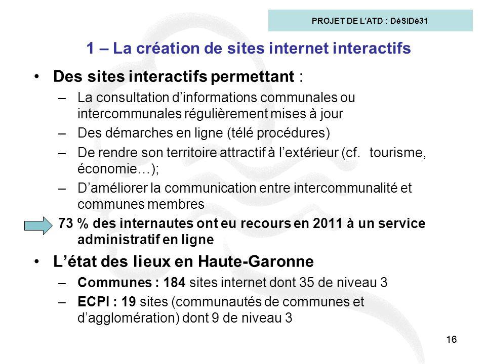 16 1 – La création de sites internet interactifs Des sites interactifs permettant : –La consultation d'informations communales ou intercommunales régu