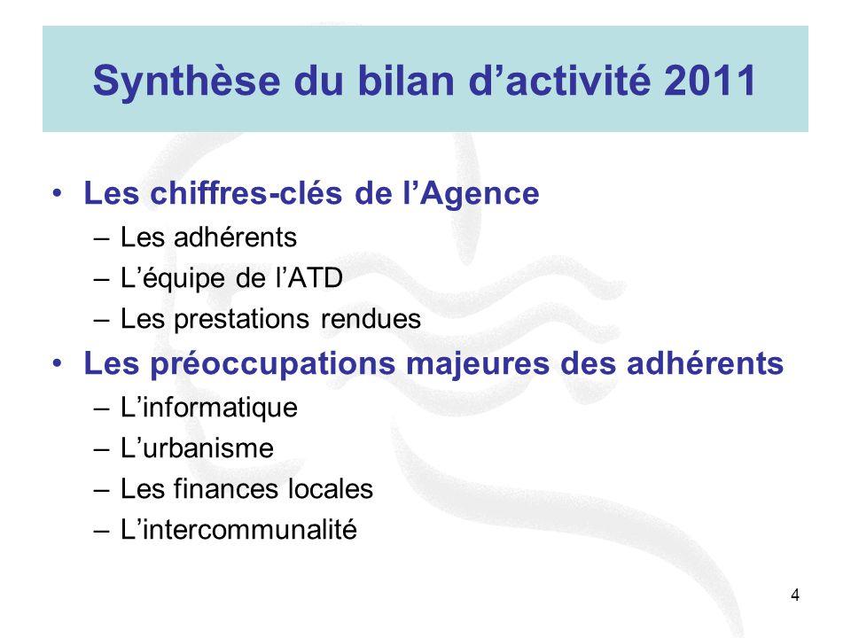 4 Synthèse du bilan d'activité 2011 Les chiffres-clés de l'Agence –Les adhérents –L'équipe de l'ATD –Les prestations rendues Les préoccupations majeur
