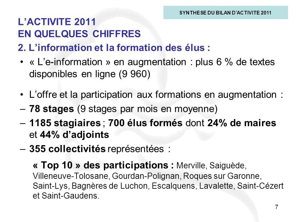 7 L'ACTIVITE 2011 EN QUELQUES CHIFFRES SYNTHESE DU BILAN D'ACTIVITE 2011 2. L'information et la formation des élus : « L'e-information » en augmentati