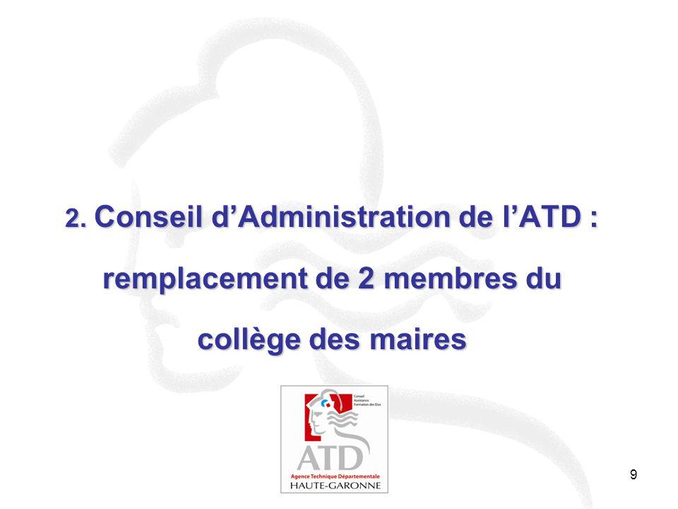 9 2. Conseil d'Administration de l'ATD : remplacement de 2 membres du collège des maires