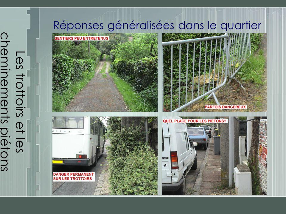 Les trottoirs et les cheminements piétons Réponses généralisées dans le quartier