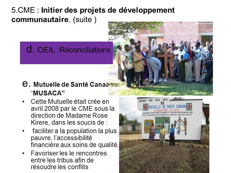  5.4.CME : Initier des projets de développement communautaire. a. Stop SIDAb. Centre Regional des distruption des Medicaments
