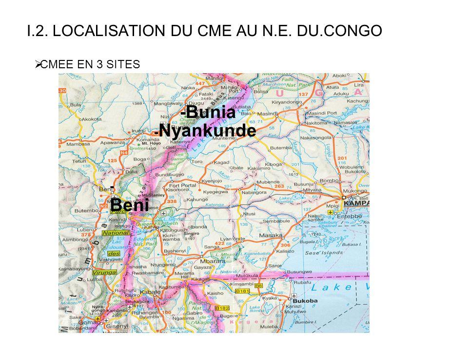 I.2. LOCALISATION DU CME AU N.E. DU.CONGO - Nyankunde -Bunia - Beni  CMEE EN 3 SITES