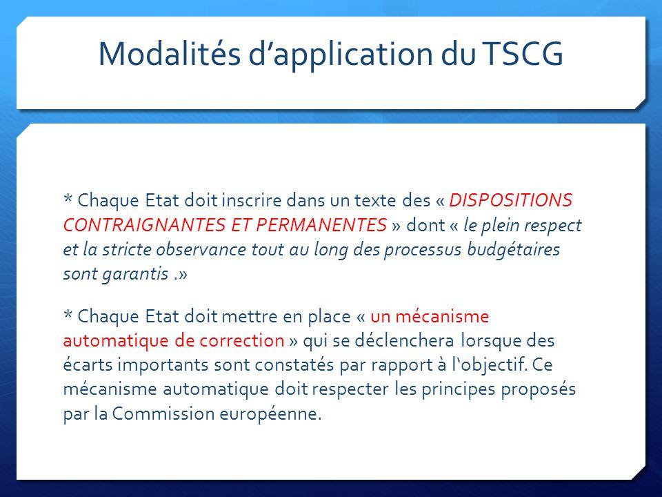 Modalités d'application du TSCG * Chaque Etat doit inscrire dans un texte des « DISPOSITIONS CONTRAIGNANTES ET PERMANENTES » dont « le plein respect e