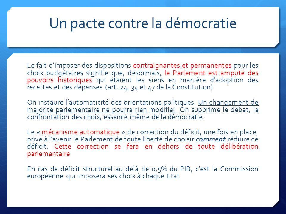 Un pacte contre la démocratie Le fait d'imposer des dispositions contraignantes et permanentes pour les choix budgétaires signifie que, désormais, le