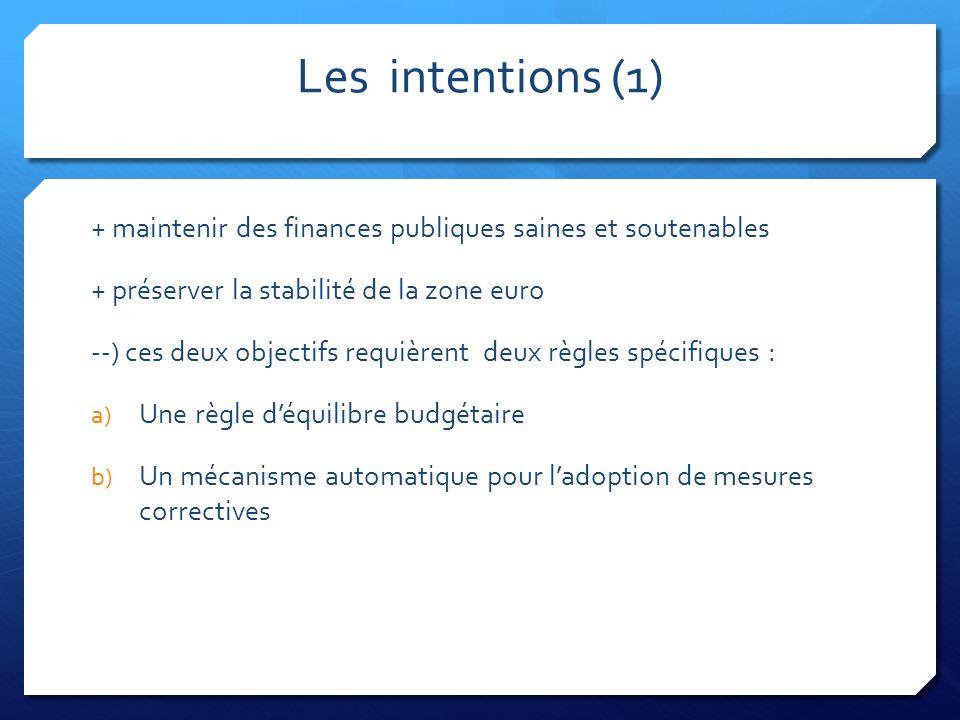 Les intentions (1) + maintenir des finances publiques saines et soutenables + préserver la stabilité de la zone euro --) ces deux objectifs requièrent