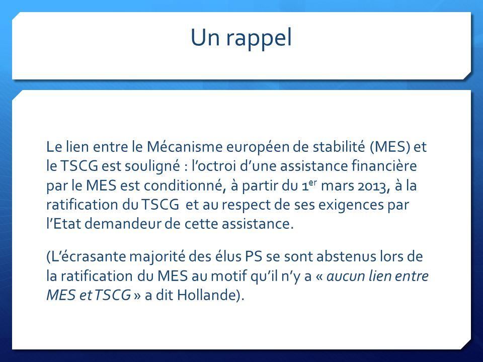 Un rappel Le lien entre le Mécanisme européen de stabilité (MES) et le TSCG est souligné : l'octroi d'une assistance financière par le MES est conditi