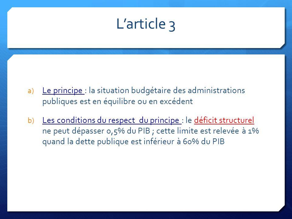 L'article 3 a) Le principe : la situation budgétaire des administrations publiques est en équilibre ou en excédent b) Les conditions du respect du pri