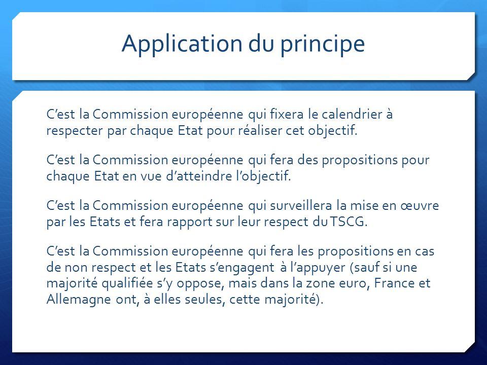 Application du principe C'est la Commission européenne qui fixera le calendrier à respecter par chaque Etat pour réaliser cet objectif. C'est la Commi