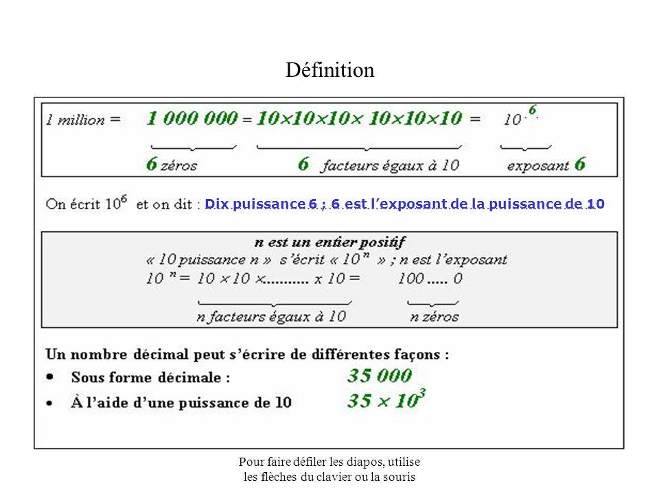 Pour faire défiler les diapos, utilise les flèches du clavier ou la souris 1 - Reprends la feuille n° 1 et écris dans la colonne de droite les nombres à l'aide des puissances de 10 20 000 300 000 4 000 000 7 000 000 000 =7  1 000 000 000 =4  1 000 000 =3  100 000 Sept milliards = Quatre millions = Vingt mille = Trois cent mille = C - Exemples =2  10 000 =7  10 9 =4  10 6 =3  10 5 =2  10 4