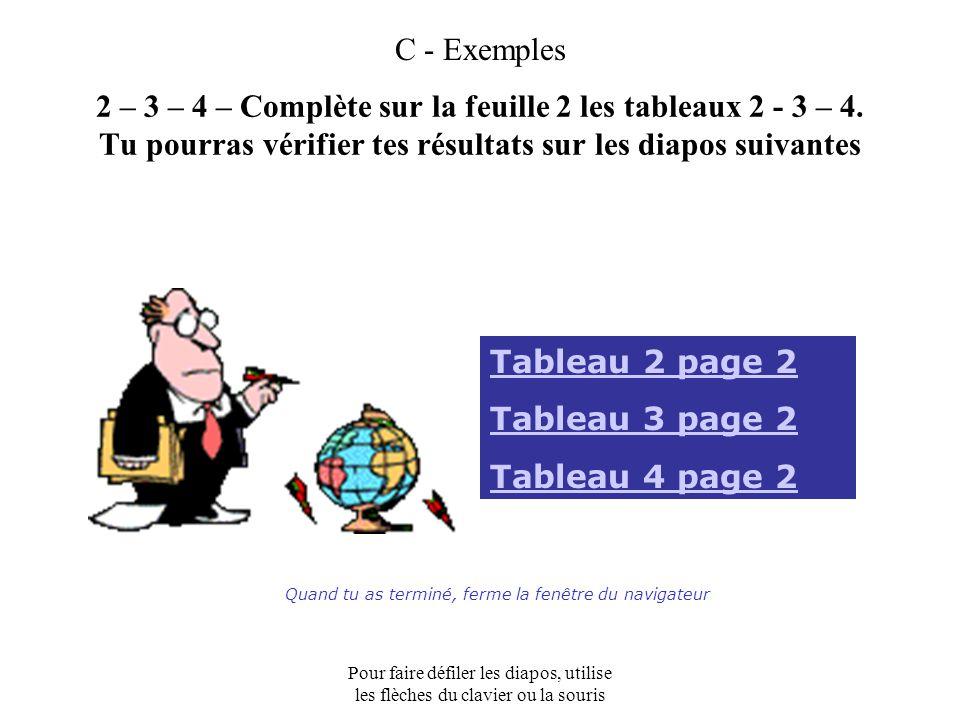 Pour faire défiler les diapos, utilise les flèches du clavier ou la souris C - Exemples 2 – 3 – 4 – Complète sur la feuille 2 les tableaux 2 - 3 – 4.