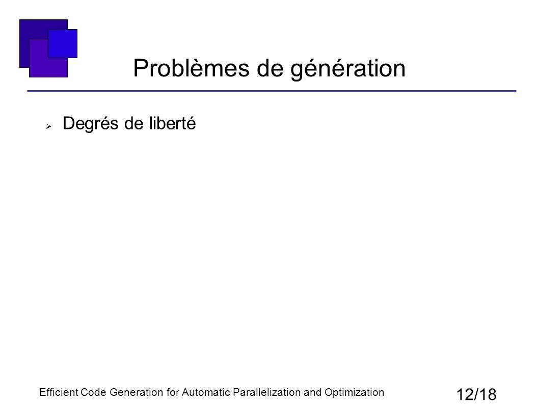 Problèmes de génération  Degrés de liberté 12/18 Efficient Code Generation for Automatic Parallelization and Optimization