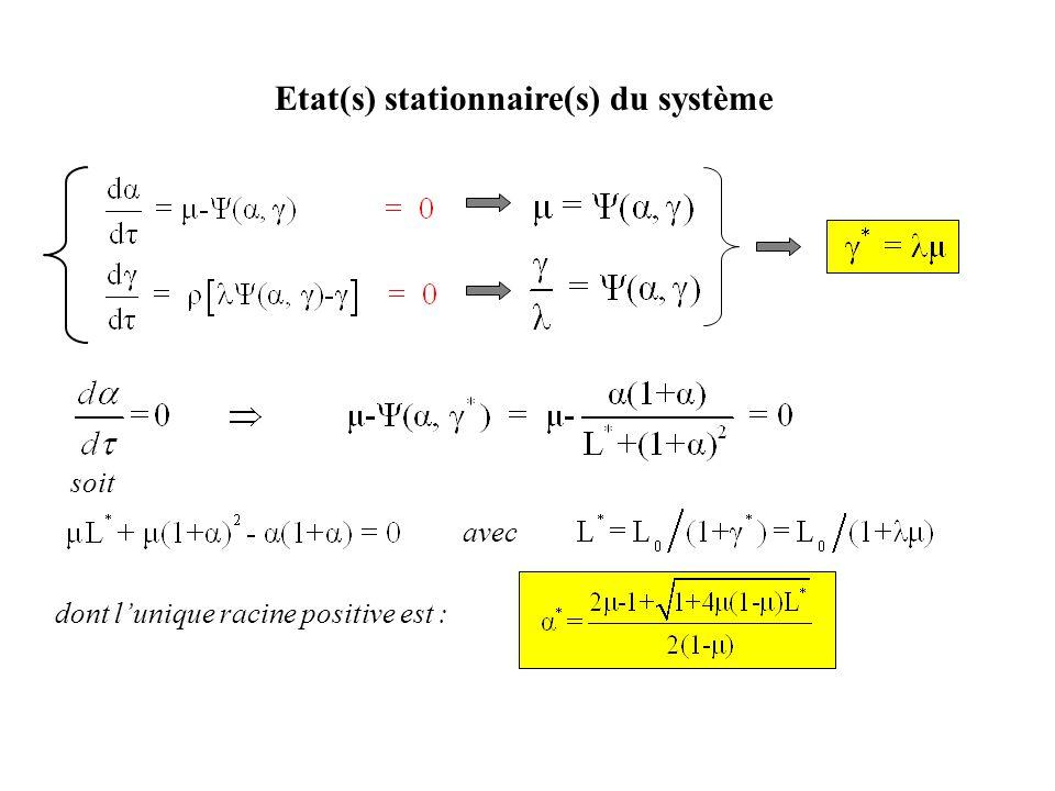 Etat(s) stationnaire(s) du système soit avec dont l'unique racine positive est :