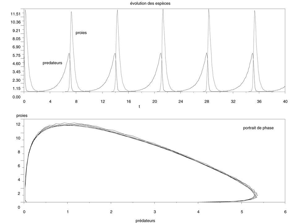 Exemple simple de modèle de Turing (développé à partir du modèle de Lotka-Volterra) Termes de réaction Termes de diffusion (diffusion à 1 dimension) Les valeurs des coefficients de diffusion de x et de y diffèrent d'un facteur 4.
