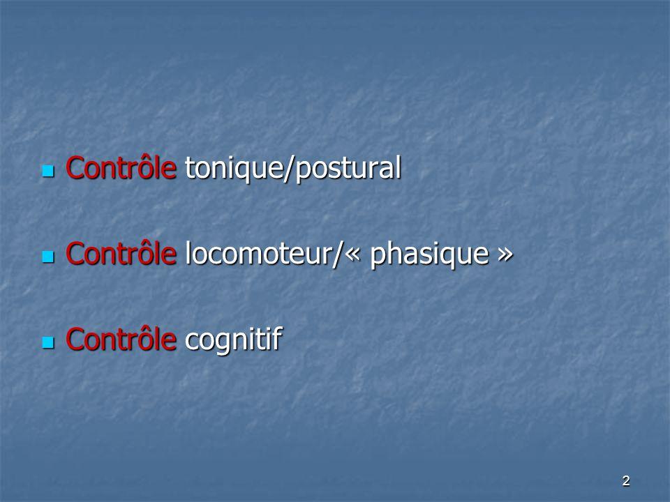 2 Contrôle tonique/postural Contrôle tonique/postural Contrôle locomoteur/« phasique » Contrôle locomoteur/« phasique » Contrôle cognitif Contrôle cog
