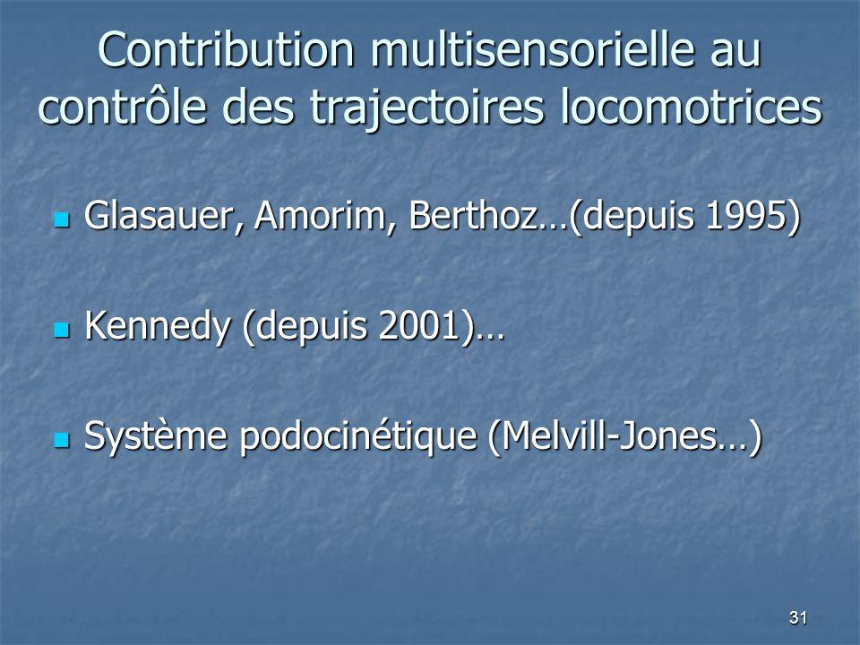 31 Contribution multisensorielle au contrôle des trajectoires locomotrices Glasauer, Amorim, Berthoz…(depuis 1995) Glasauer, Amorim, Berthoz…(depuis 1995) Kennedy (depuis 2001)… Kennedy (depuis 2001)… Système podocinétique (Melvill-Jones…) Système podocinétique (Melvill-Jones…)