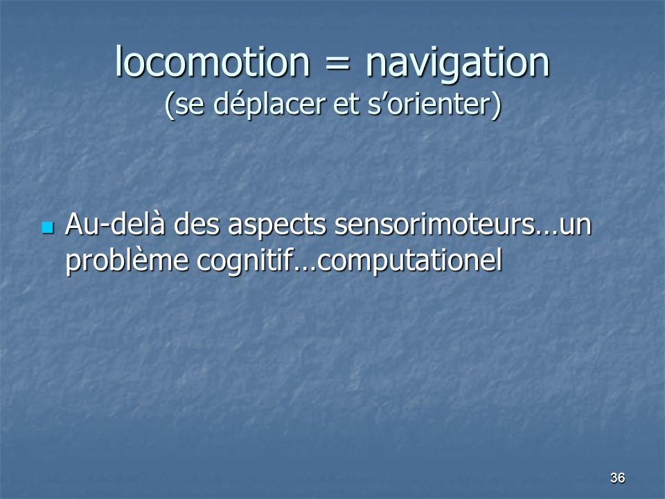 36 locomotion = navigation (se déplacer et s'orienter) Au-delà des aspects sensorimoteurs…un problème cognitif…computationel Au-delà des aspects sensorimoteurs…un problème cognitif…computationel