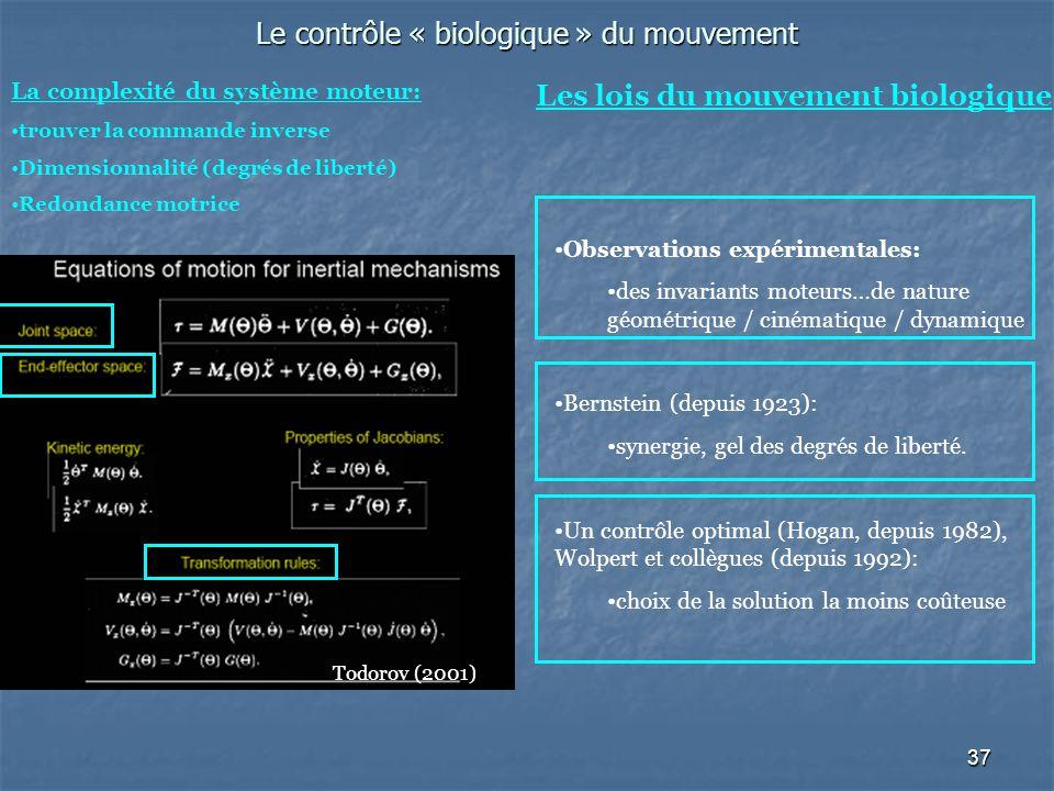 37 Le contrôle « biologique » du mouvement La complexité du système moteur: trouver la commande inverse Dimensionnalité (degrés de liberté) Redondance