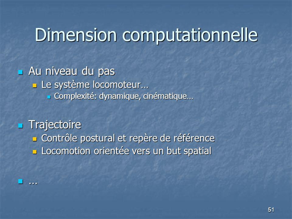 51 Dimension computationnelle Au niveau du pas Au niveau du pas Le système locomoteur… Le système locomoteur… Complexité: dynamique, cinématique… Comp