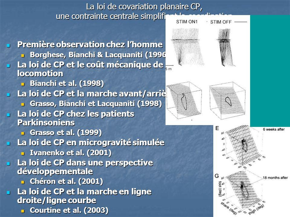 53 La loi de covariation planaire CP, une contrainte centrale simplifiant la coordination Première observation chez l'homme Première observation chez