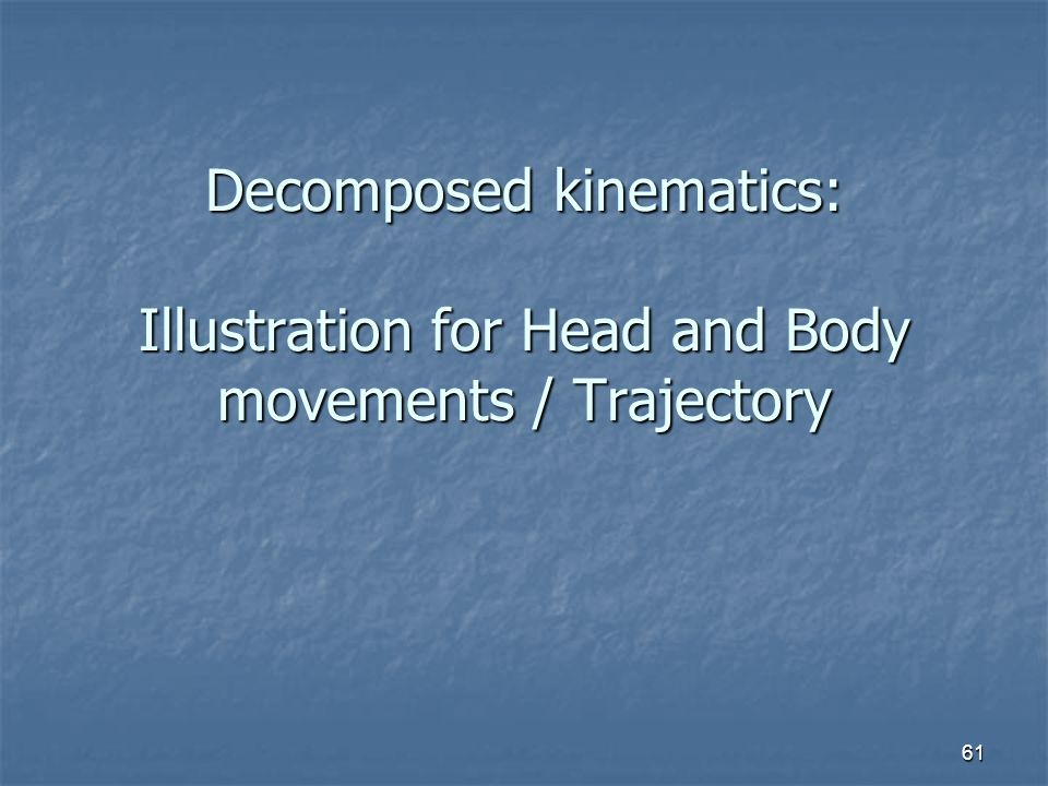 61 Decomposed kinematics: Illustration for Head and Body movements / Trajectory