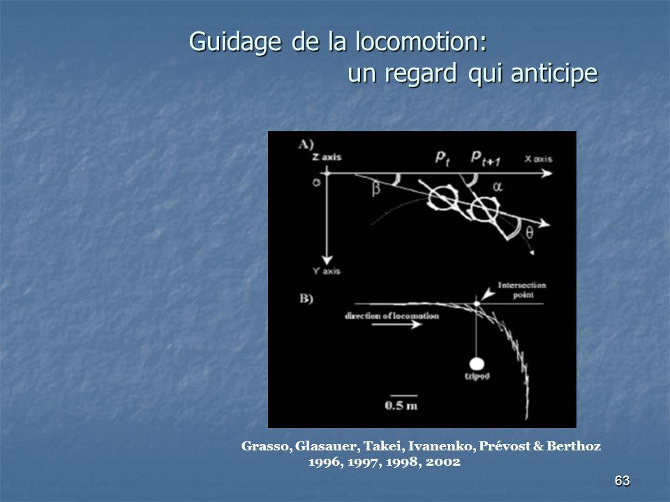 63 Guidage de la locomotion: un regard qui anticipe Grasso, Glasauer, Takei, Ivanenko, Prévost & Berthoz 1996, 1997, 1998, 2002