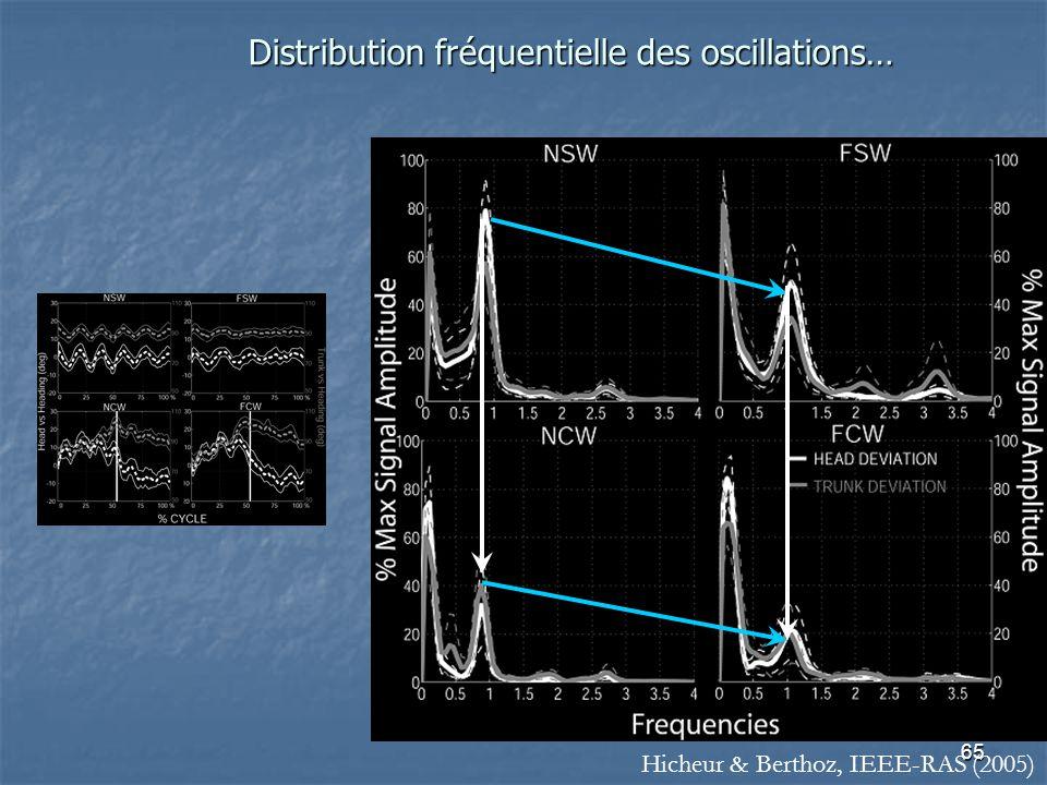 65 Distribution fréquentielle des oscillations… Hicheur & Berthoz, IEEE-RAS (2005)