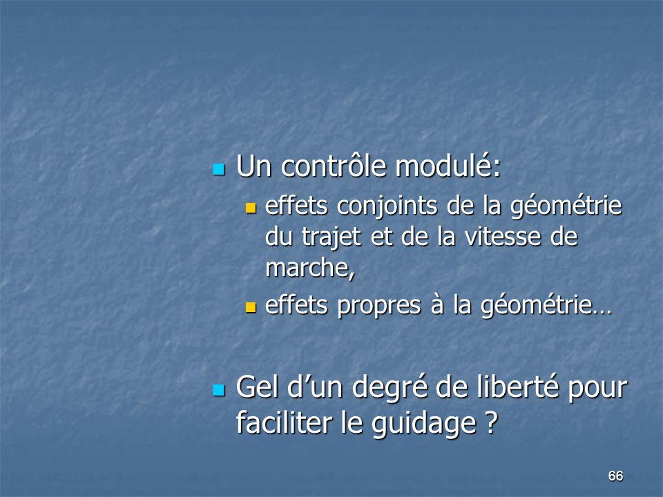 66 Un contrôle modulé: Un contrôle modulé: effets conjoints de la géométrie du trajet et de la vitesse de marche, effets conjoints de la géométrie du