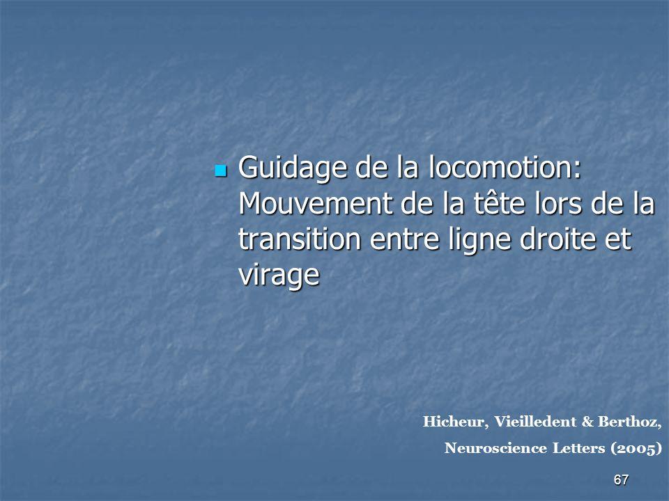 67 Guidage de la locomotion: Mouvement de la tête lors de la transition entre ligne droite et virage Guidage de la locomotion: Mouvement de la tête lors de la transition entre ligne droite et virage Hicheur, Vieilledent & Berthoz, Neuroscience Letters (2005)