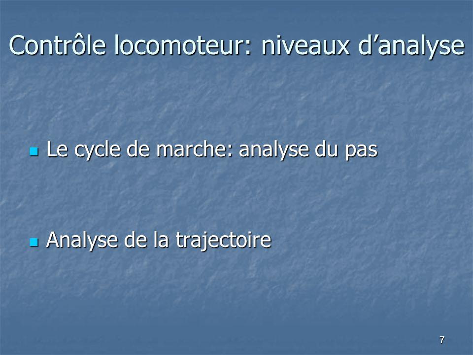 7 Contrôle locomoteur: niveaux d'analyse Le cycle de marche: analyse du pas Le cycle de marche: analyse du pas Analyse de la trajectoire Analyse de la trajectoire