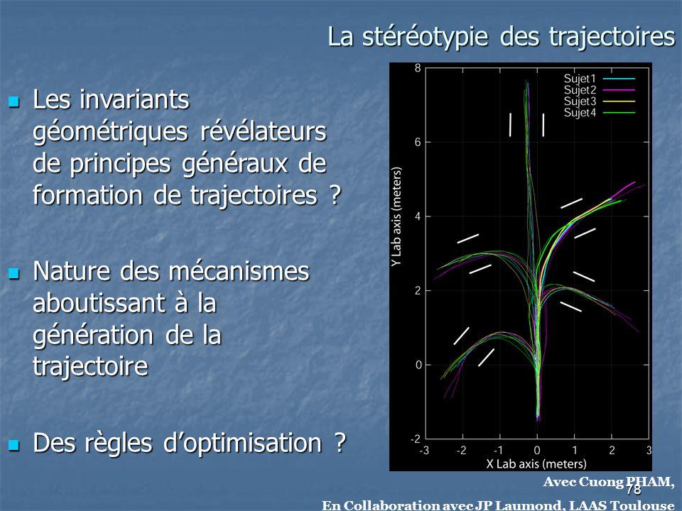 78 Avec Cuong PHAM, En Collaboration avec JP Laumond, LAAS Toulouse La stéréotypie des trajectoires La stéréotypie des trajectoires Les invariants géo