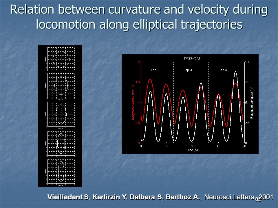 82 Relation between curvature and velocity during locomotion along elliptical trajectories Vieilledent S, Kerlirzin Y, Dalbera S, Berthoz A., Neurosci.Letters, 2001