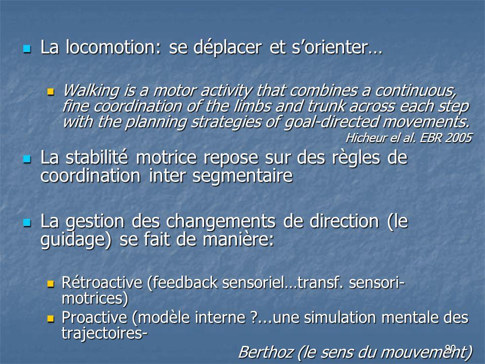 90 La locomotion: se déplacer et s'orienter… La locomotion: se déplacer et s'orienter… Walking is a motor activity that combines a continuous, fine co
