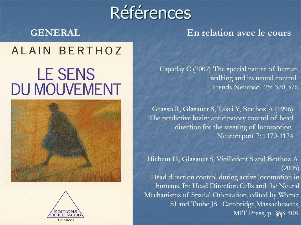 91 Références GENERALEn relation avec le cours Grasso R, Glasauer S, Takei Y, Berthoz A (1996) The predictive brain: anticipatory control of head dire
