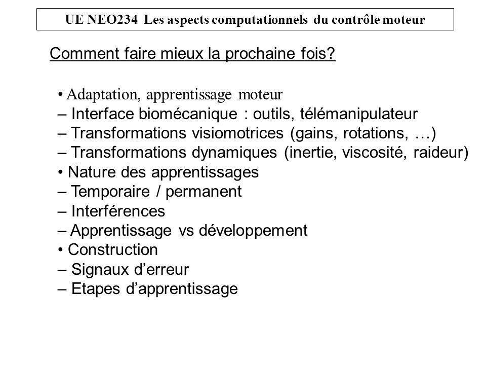 UE NEO234 Les aspects computationnels du contrôle moteur Comment faire mieux la prochaine fois.
