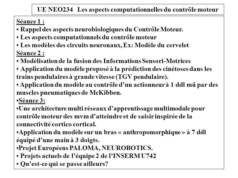 UE NEO234 Les aspects computationnels du contrôle moteur Comment calculer la commande motrice.