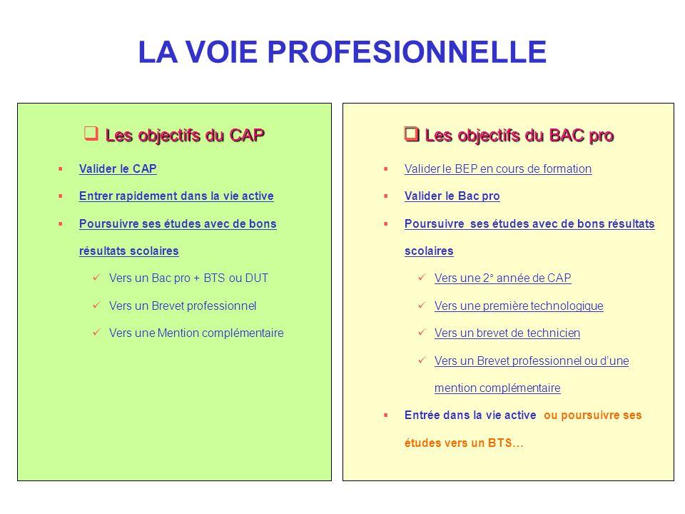 Les objectifs du BAC pro  Valider le BEP en cours de formation  Valider le Bac pro  Poursuivre ses études avec de bons résultats scolaires Vers u