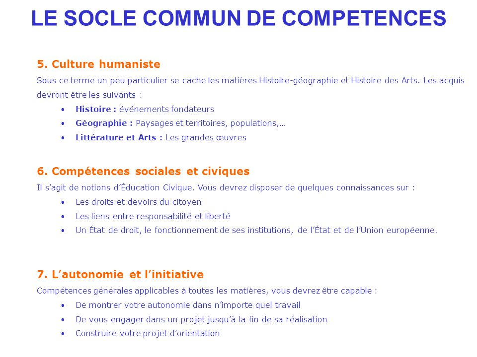 LE SOCLE COMMUN DE COMPETENCES 5.