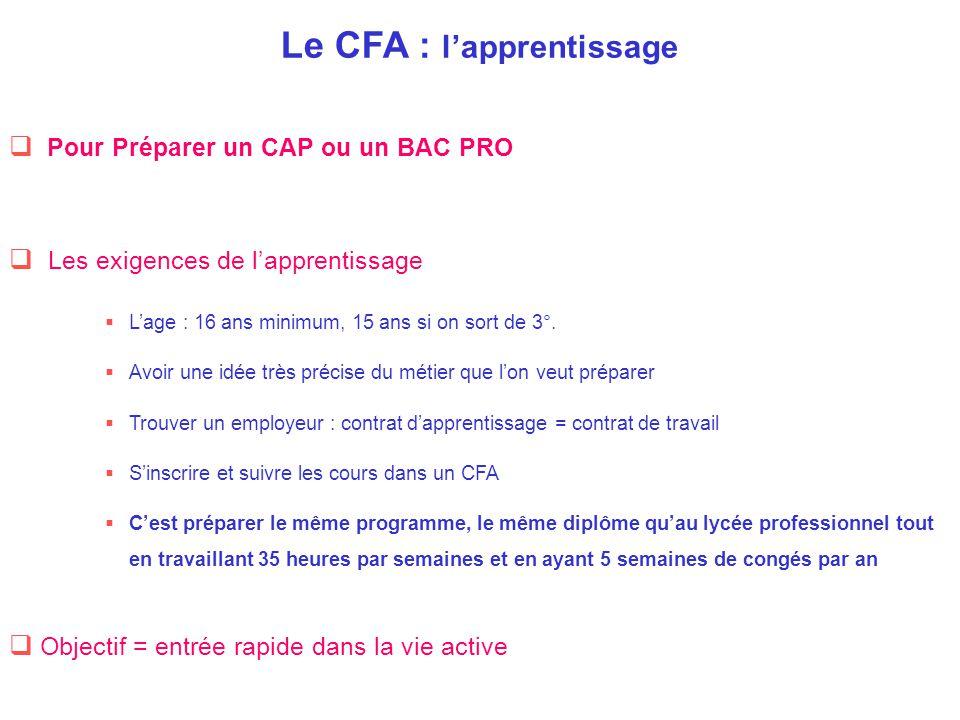 Le CFA : l'apprentissage  Pour Préparer un CAP ou un BAC PRO  Les exigences de l'apprentissage  L'age : 16 ans minimum, 15 ans si on sort de 3°. 