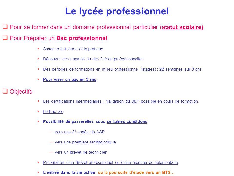  Pour se former dans un domaine professionnel particulier (statut scolaire)  Objectifs  Les certifications intermédiaires : Validation du BEP possi